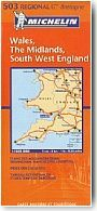 Carte Michelin Pays de Galle, Midlands, Angleterre Sud Ouest. 1/400 000