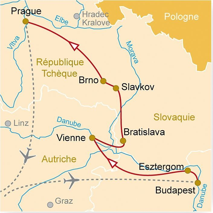 Carte Europe Vienne Prague Budapest.Ec 32 Grand Circuit En Europe Centrale Budapest Vienne