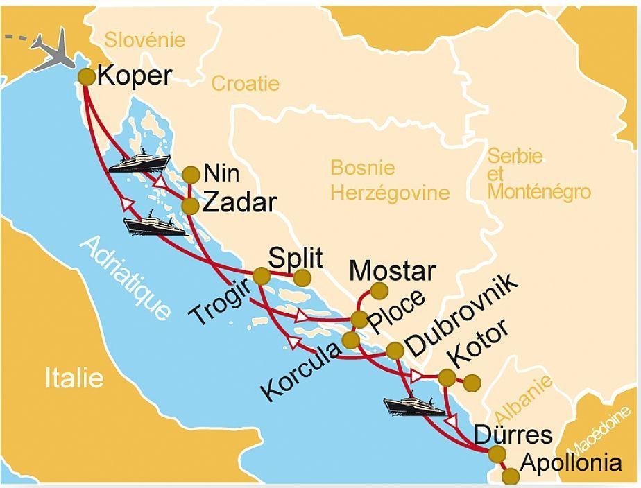 Carte Croatie Montenegro Kotor.CM 77 Croisire Trsors De L